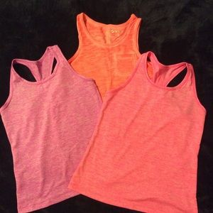 Bundle of 3 athletic tanks Sz 7/8 various brands